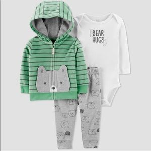 NWT Carter's 3-pc bear hoodie set (18m)
